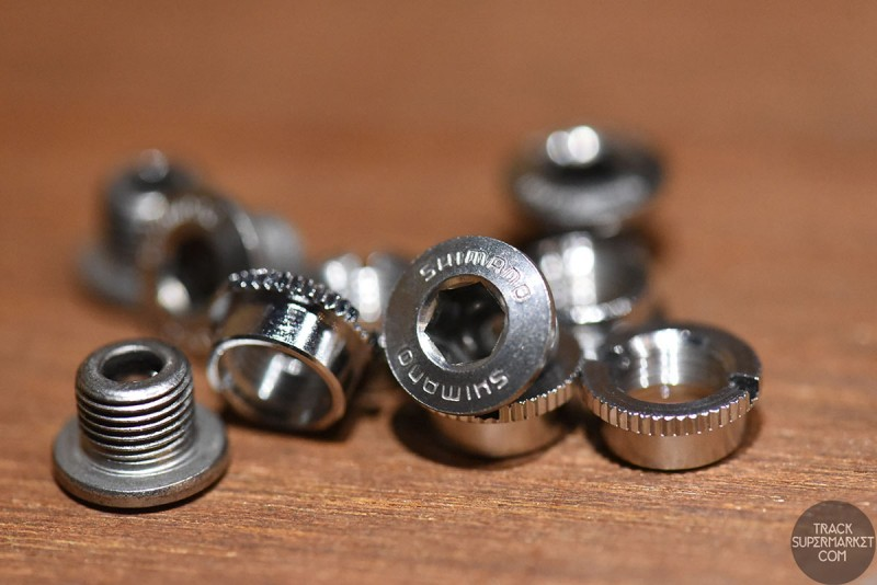 Shimano Dura Ace Stainless steel chainring bolt set - (knurled!)